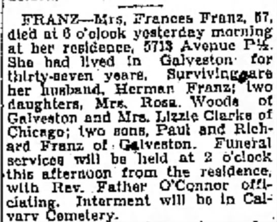 """- Tempi* Foa- o/ """"Tht FRANZ--Mrs, Frances Franz...."""