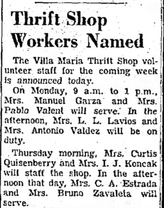 Marcella thrift shop 1951 Brownsville - and arc ThriftShop Workers Named The Villa...
