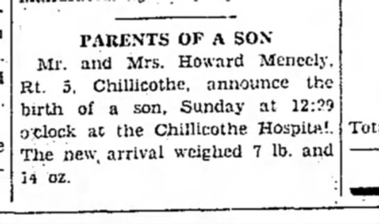 David's announcement - PARENTS OF A SON Mi', and Mrs. Howard Mencely,...
