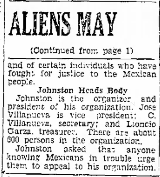 Fred L. Johnston - Aliens - Brownsville Herald Sept 11 1929 - (Continued from page 1) and of certain...