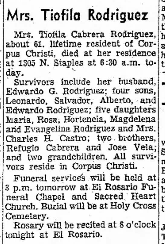 Tiofila Cabrera [Rodriguez] - obit - in resi- at heart and three of Ann Davis, Mrs....