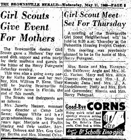 GS meeting Koncak 1960 Brownsville - THE BROWXSVIUJi HERALD--Wednexhy, May 11, Girl...
