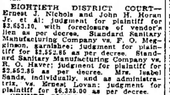 John Horan legal judgement - by EIGHTIETH DISTRICT COURT-Ernest COURT-Ernest...