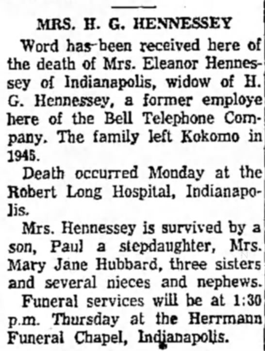Eleanor Hennessey obituary - MRS. H. G. HENNESSEY Word has-been received...