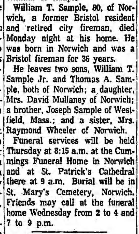 SAMPLE, William T - Obituary - acci-dent William T. Sample, 80, of Nor wich, a...