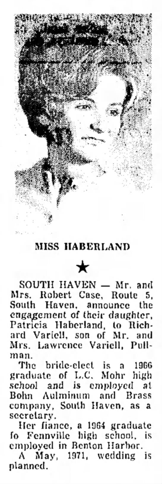 - t e d , 2 MISS HABERLAND SOUTH HAVEN -- Mr. and...
