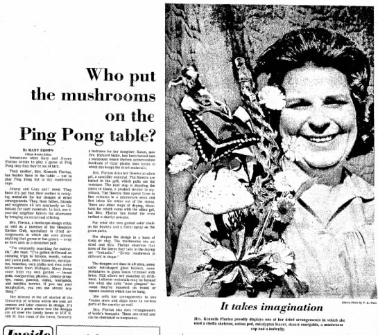 Frances Florian Article - Tucson Daily Citizen Sept 20, 1974 - long consider too. ' - will does Side the the...