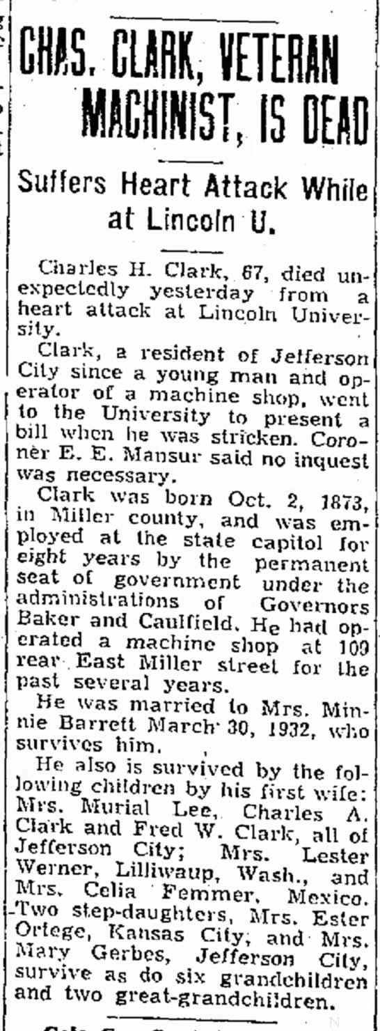 Charles Clark newspaper obituary