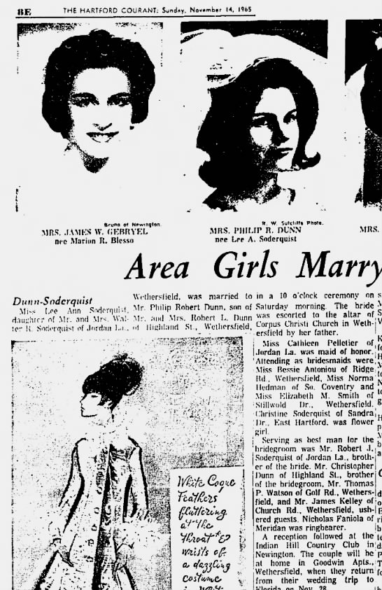 Wedding of Lee Ann Soderquist and Philip R Dunn on Nov 13, 1965, Corpus Christi Church - he THE HARTFORD COURANT: Sunday. Nov.mb.r 14....