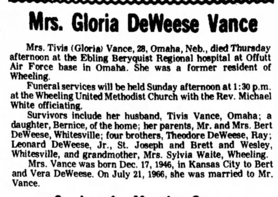 - Mrs. Gloria DeWeese Vance Mrs. Tivis (Gloria)...