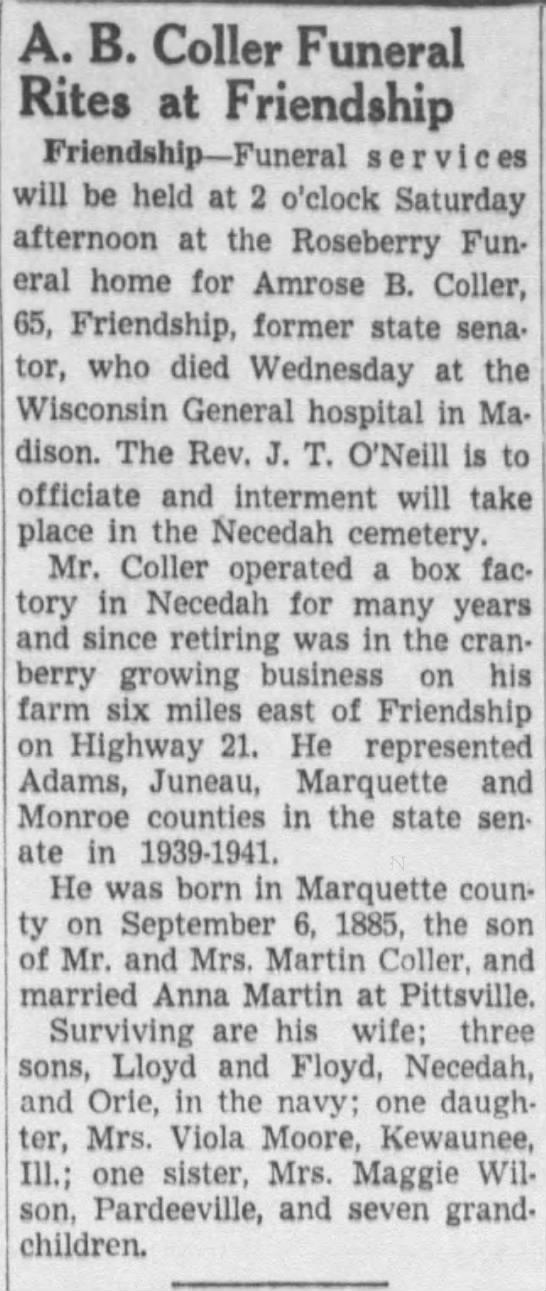 Amrose B. Coller (1885-1951) - A. B. Coller Funeral Rites at Friendship...