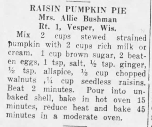 1940: Raisin Pumpkin Pie