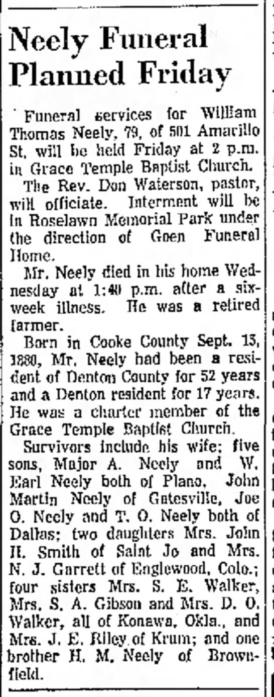 Neely, WIlliam Thomas Obituary - he a Hi Neely Funeral Planned Friday Funeral...