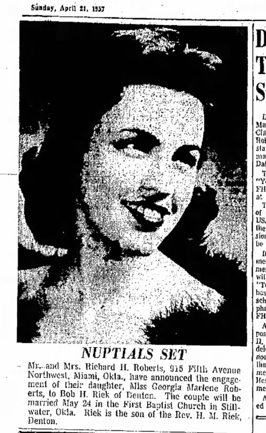 Denton Record-Chronicle April 27,1957 - Sunday, April 21, 1S5J NUPTIALS SET Mi: and Mrs...