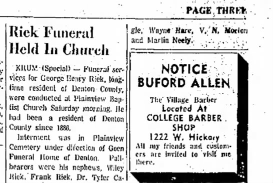 Riek, George Henry funeral announcement - C L E PAGE THRU-, near Kick Funeral Held In...