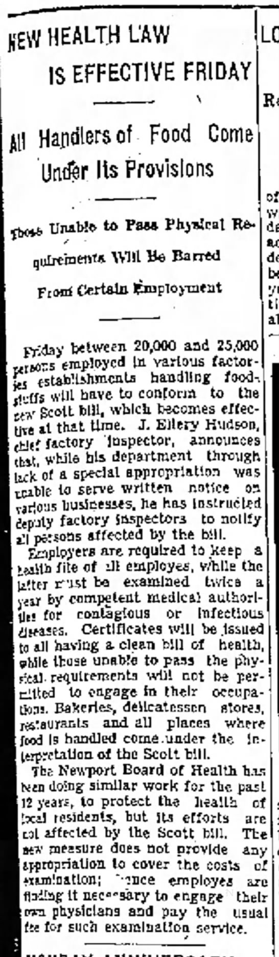 Newport mercury July 1, 1932  - w HEALTH LAW IS EFFECTIVE FRIDAY !/ill Handlers...