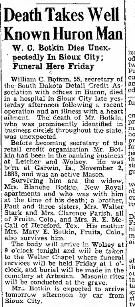 Daily Plainsman - Huron SD - WC Botkin - 11 Oct 1939 p1 - war. on 9 cover an a the represented fight for...