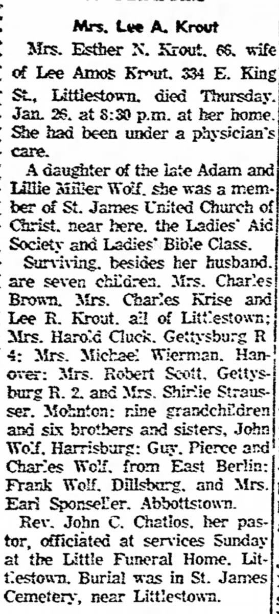 Esther N Wolf Krout obit-Feb 1967