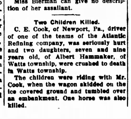 albert hammaker daughters crushed to death 1914 - into has* face, The mantle, the WM then...