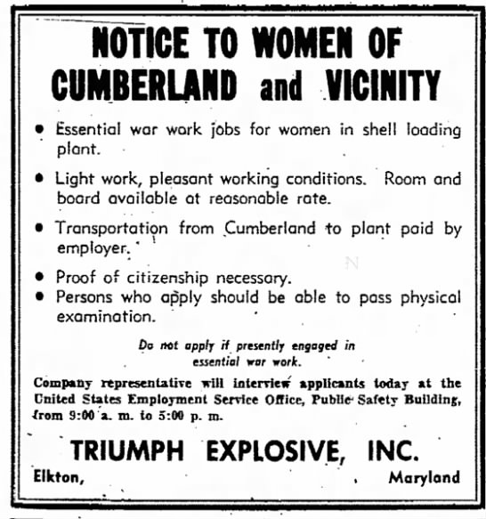 WWII jobs for women - NOTICE TO WOMEN OF CUMBERLAND and VICINITY ·...