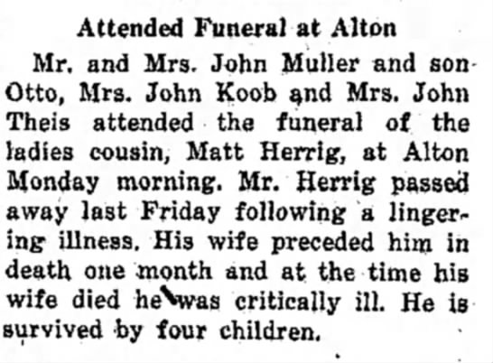 - Attended Funeral at Alton Mr. and Mrs. John...