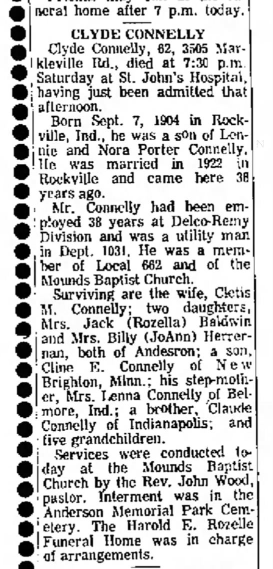 Clyde Connelly Obit