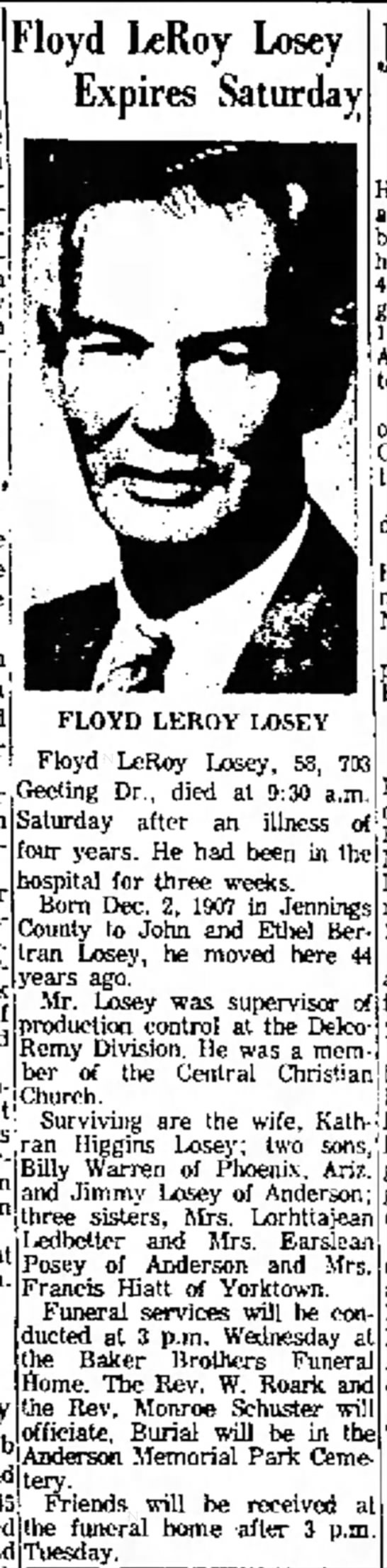 Anderson Daily bulletin (Anderson, Indiana) Oct. 10, 1966 pg 6 - l u b the Floyd LeRoy Losey Expires Saturday...