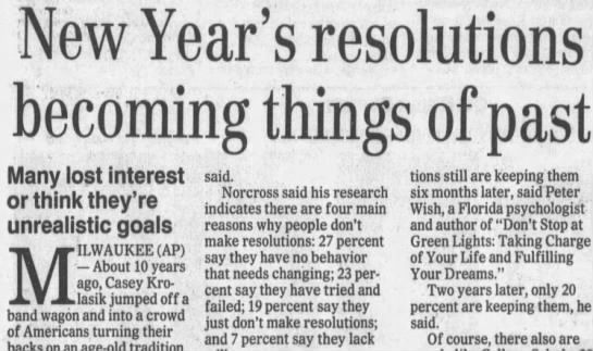 "A""New Year's resolutions becoming things of past""...or are they? 1999 - New Year's resolutions becomin Many lost..."