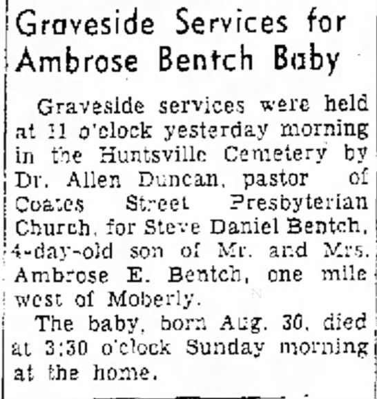Steven Daniel Burial 5 September, 1950 - i n tO Services for C e r v i c e Ambrose...