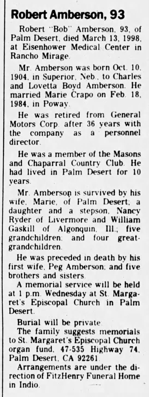 "Robert Donald Amberson obit - Robert Amberson, 93 Robert ""Bob"" Amberson, 93,..."