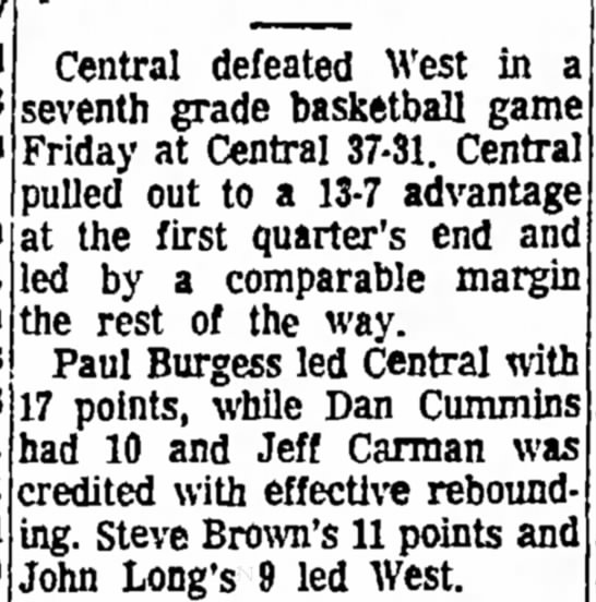 January 12, 1971 Press-Citizen - B High a m 10. 10 Central defeated West in a...