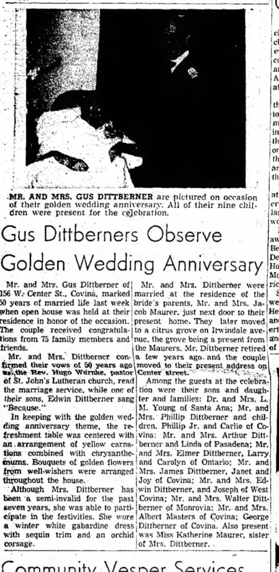 Gus & Phillina Dittberner 50th - at -MR. AND MRS. GUS DITTBERNEH are pictured on...