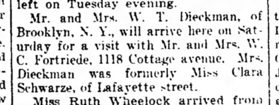 W.C. Fortriede, Ft.Wayne Weekly Sentinel, Wed. Aug. 22, 1917 p.5 - bride. and left on Tuesday evening. Mr. and...