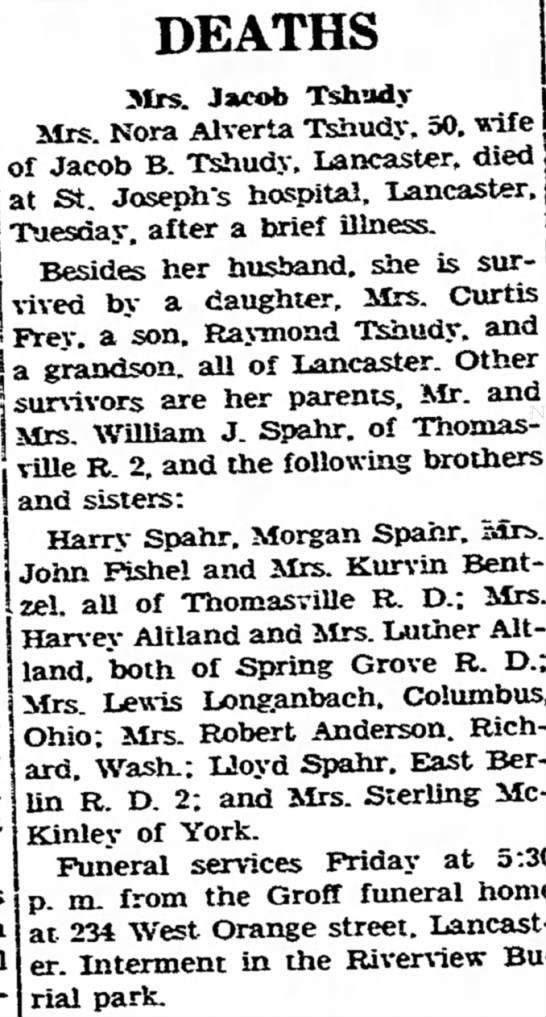 Lewis Longanbach wife's sister's notice 15 Apr 1949 - DEATHS Mrs. Ja«* Tshad, rs. Nora Alverta...