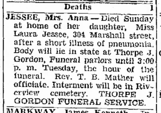 - and Deaths JESSEE, Mrs. Anna -- Died Sunday at...
