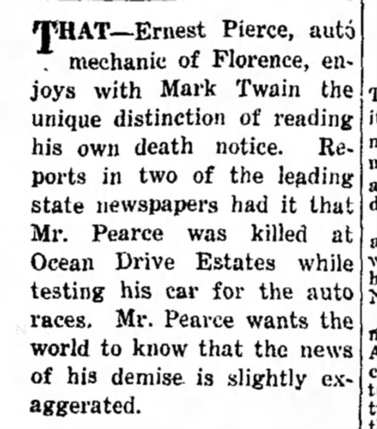 Florence Morning News 8 JUL 1926 - TpHAT--Ernest Pierce, auto . mechanic of...
