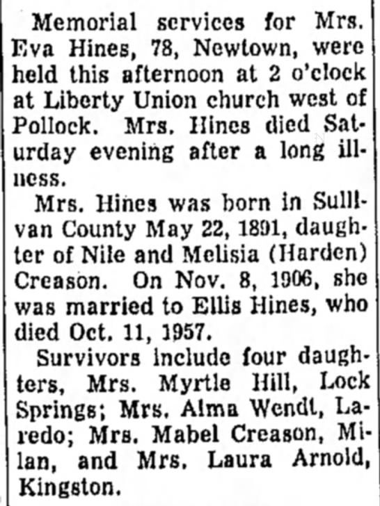 Nile and Melisia Creason - Memorial services for Mrs. Eva Hines, 78,...