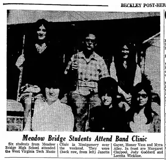 Homer Vass March 17 1970 - BECKLEY I ' Meadow Bridge Students Attend Band...