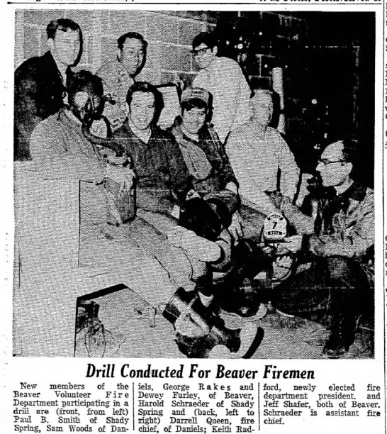 Beaver Fire Department March 24 1970 - Drill Conducted For Beaver Firemen New members...