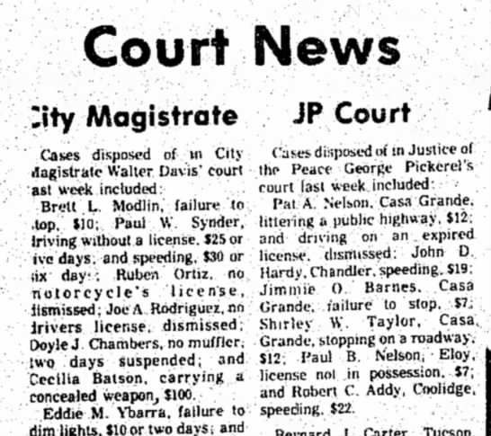 Addy  Robert C 18 Feb 1974 p3 - Court News :ity Magistrate JP Court Cases...