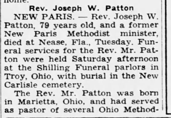 Rev Joseph Debbie Patton obit - Rev. Joseph W. Patton NEW PARIS. Rev. Joseph W....