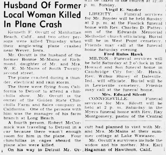 Kenneth Orcutt obit - Husband Of Former Local Woman Killed In Plane...