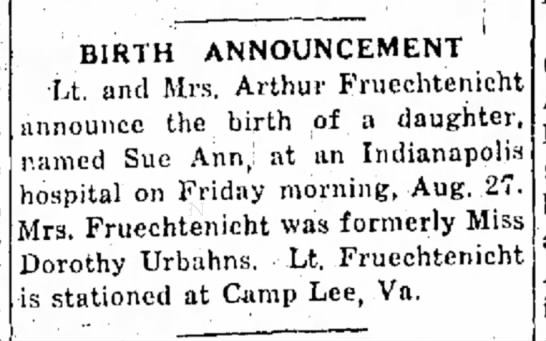 Arthur Fruechenicht, National Road Traveler, Cambridge City, IN, TH Sept. 2, 1943 p.2 - day performance possible at a BIRTH...