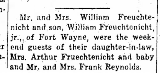 Wm. Fruechtenicht, Wm. jr. National Road Traveler, Cambridge, City, IN, TH Oct. 7, 1943 p.8 - Richmond. family Mr. and Mrs. William Freuchte-...