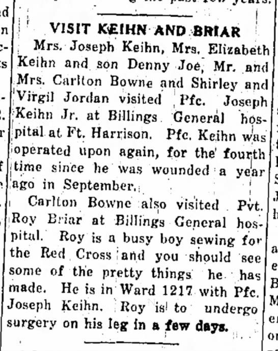 Visit to Joe Keihn in hospitaloct 1945
