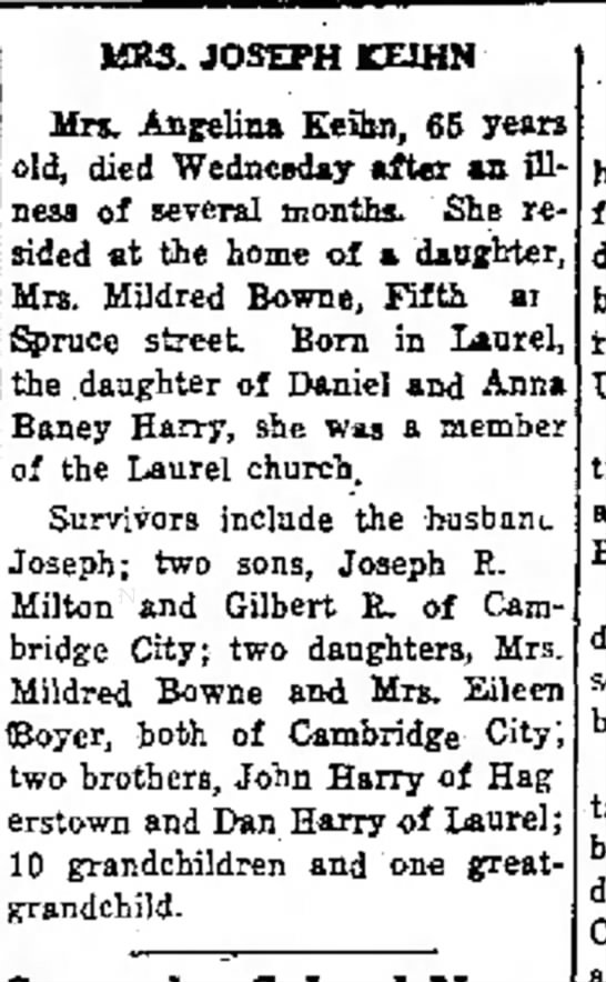 Angelina Harry obit