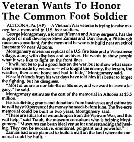 Traub Memorial to foot soldier 1998 - Veteran Wants To Honor The Common Foot Soldier...