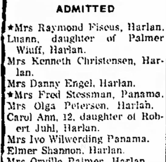 Grandma Admitted to Hospital - ADMITTED *Mrs Raymond Fiseus, Harlan. Luann,...