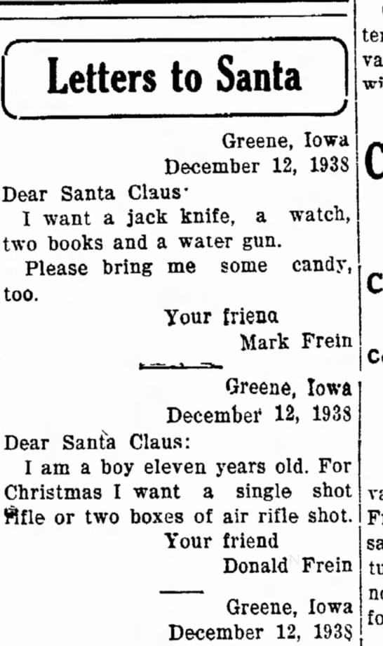 - I Letters to Santa ) Greene, Iowa December 12,...