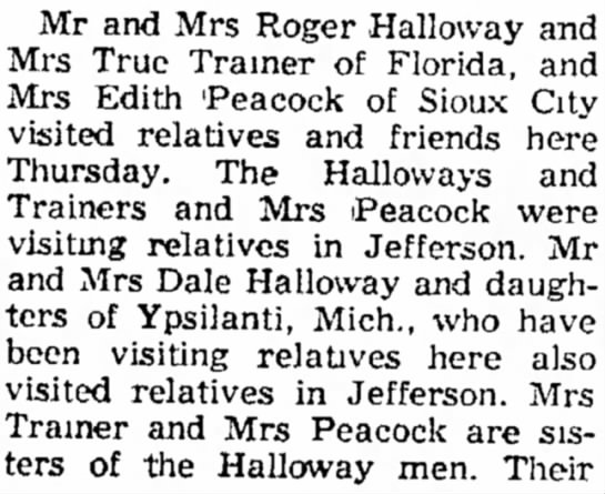 15 15 Aug 1961 The Jefferson Bee,  Jefferson, Iowa - Mr and Mrs Roger Halloway Mrs True Trainer of...
